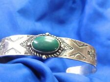 EARLY FRED HARVEY ERA TURQUOISE CUFF BRACELET ARROWS EAGLE HIGHLY DECORATED