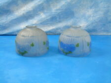 Vintage Frosted Satin Glass Shades Set of 2 Inside Painted Blue Flowers