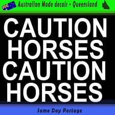 Car Sticker -  Caution Horses White Set of 2,  Bumper Sticker Horse Float