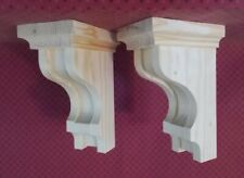Pair 6 x 9-1/2 x 4-1/2 Wood Corbels / Shelf Mantle Support Brackets (#2915)