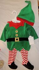 New Baby Elf First Christmas Outfit Hat Size 3-6 Months Costume Xmas Green