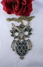 Vintage Enamel Articulated HUGE Owl  Necklace CAT RESCUE