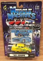 Muscle Machines 1949 Ford Coupe Yellow W/ Blue Flames 1/64 Scale New Funline