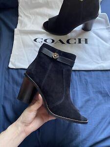 New Women's Coach Moto Open Toe Ankle Boots, Black Suede Size 10