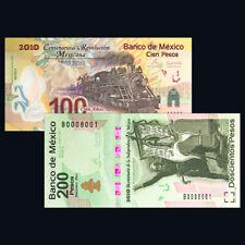Mexico SET 2PCS, 100 200 Pesos, 2007 2008, P-128 129, A,  Match Numbers,COMM.UNC