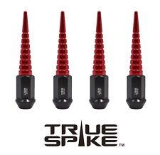 """24 TRUE SPIKE 112MM 9/16"""" FORGED STEEL LUG NUTS W/ RED EXTENDED SPIRAL SPIKES"""
