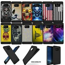 For (Samsung Galaxy Note 8) Shock Case with Grip Texture Flexible TPU