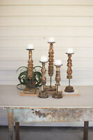 GwG Outlet Set Of Five Repurposed Wooden Finial Candle Stands NRAR1093