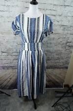 Wayward Fancies by eShakti Custom Blue White Printed Short Sleeve Pockets Dress