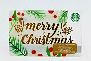 Starbucks Coffee Gift Card 2016 Merry Christmas Holiday Pine Gold Zero Balance