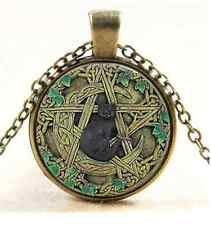 Black Cat Wicca Pendant Necklace Pentagram Wiccan Jewelry Charm #524