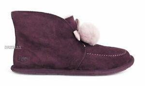 UGG Kallen Cordovan Suede Fur Pom Pom Slippers Womens Size 9 *NIB*