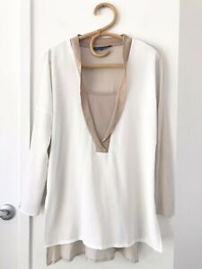 FRENCH CONNECTION Size M White/Beige Long Sleeve Ribbed V Neck Casual Top