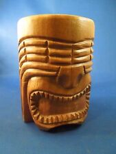 Vintage Carved Wooden Tiki Face Novelty Souvenir Mug Cup Collectible