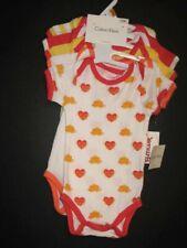 Calvin Klein 5 pack bodysuits girls 0-3 m New hearts red yellow