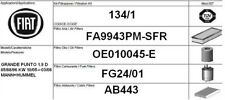 134/1 KIT 4 FILTRI TAGLIANDO FIAT GRANDE PUNTO 1.9 MJT KW 96 CV 131 MANN+HUMMEL