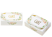 GOLD AND FLORAL CAKE BOXES x 10 - WEDDING / ANNIVERSARY / PARTY