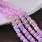 New 30pcs 8mm Cube Square Faceted Glass Loose Spacer Colorful Beads Pink&Blue