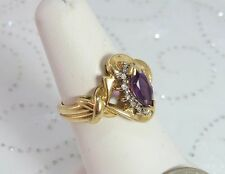 Vintage Marquise Amethyst and Diamonds set in 10K Gold Size 5.75