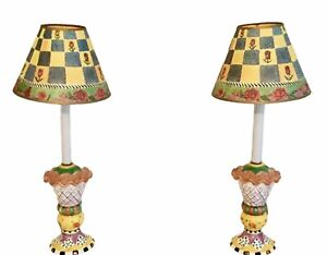 """Brightly Colored Ceramic Lamp Pair Flowers & Geo Paper Shades 23-1/2"""""""