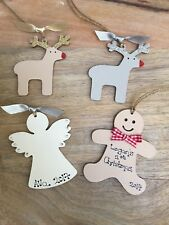 Babys first 1st Christmas Tree Decoration Bauble personalised Xmas gift tag wood