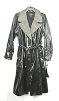 Something Navy Womens Glossy Trench Coat Notch Collar Plaid Tie Belt Lined S