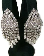 "Vintage Crystal Rhinestone 2 1/4"" Chandelier Drop Clip Earrings Wedding or Prom"