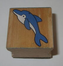 """Dolphin Rubber Stamp Sea Life Animals Wood Mounted 1 3/8"""" High"""
