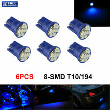 6 PCS Ultra Blue T10 Wedge 8-SMD W5W 168 194 2825 175 LED Interior Light bulbs