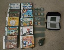 Nintendo DS Silver Handheld Video Game System + Charger +Stylus + case +10 games