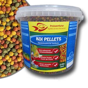 Teich Granulate  6mm Koi Pellets 5 Liter Eimer 1,8 kg Fischfutter Koifutter