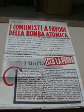 MANIFESTO POLITICO POSTER DEMOCRAZIA CRISTIANA D.C.1950 CONTRO LA BOMBA ATOMICA