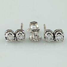 38d1432599e9 14k Oro Blanco 0.48 Quilates Diamante Doble Pendientes a Presión Gota