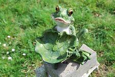 Frosch mit Blatt Vogeltränke Gartenfigur Standfigur Dekoration Tierfigur