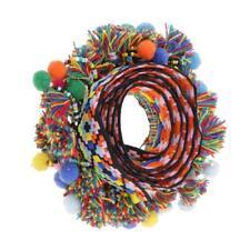1 Yard Colorful Pompon Bead Fringe Tassels Braid Jacquard Ribbon Trims 60mm