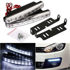 2X 12V 8 LED Daytime Running Lights DRL Car Fog Day Driving Universal White Lamp