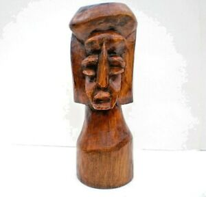Hand Carved Wood Tribal Totem Head Ethnic African Exotic Rustic Sculpture