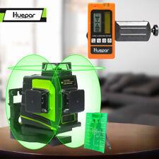 3 x 360 Degree Vertical & Horizontal Cross GreenLaser Beam Line +Laser Receiver