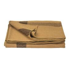 ~cowboy, civil war BLANKET - Wool - tan with brown stripes on 4 sides - New !