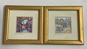 VTG 2pc Pair of Signed Miniature Jewish Jerusalem Paintings