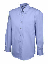 Uneek Mens Pinpoint Oxford Long Sleeve Formal Work Office Shirt Uc701 Mid Blue 3xl