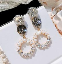 Sparkle Gold Pearl Hoop Earrings  Grey Silver Glitter, Statement ASOS