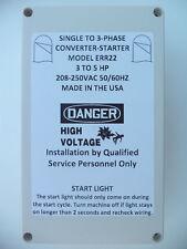 3-5 HP Static Phase Converter 208-250VAC Mill Drill Saw USA 50/60Hz Liquid Tight