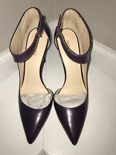 New Nine West Dark Purple Teecup High Heel Leather Pump Ankle Strap 11M