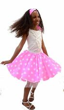 CHILDRENS GIRLS POLKA DOT ROCK AND ROLL 50s/60s SKIRT/SCARF FANCY DRESS COSTUME