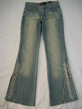 WMNS 3 BOOTLEG BLUE TAN JEANS W/ EMBROID & SLITS ON SIDES LEG by YOUNIQUE
