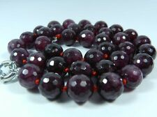 """Fashion Exquisite 8mm Faceted Red Garnet Gemstone Round Beads Necklace 18"""""""