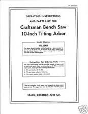 Sears Craftsman  Table Saw Manual Model # 113.22411