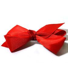 Baby Girl Hair Clip Ribbon Bow Alligator Flower Wedding Christening Plain Colour