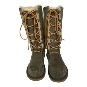 UGG AUSTRALIA 5230 UPTOWN GENUINE SHEARLING LINED LACE UP BOOT -Green  SIZE 9